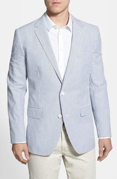 Blue Striped Blazer Mens Hardon Clothes