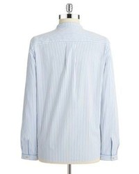 White And Blue Vertical Striped Button Down Blouse How