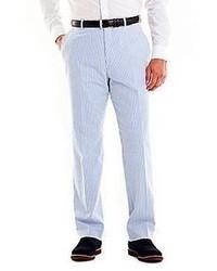 Jcpenney stafford blue seersucker cotton pants medium 59588