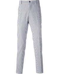 White and Blue Vertical Striped Dress Pants for Men | Men's Fashion
