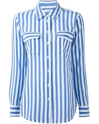 White and Blue Vertical Striped Dress Shirt