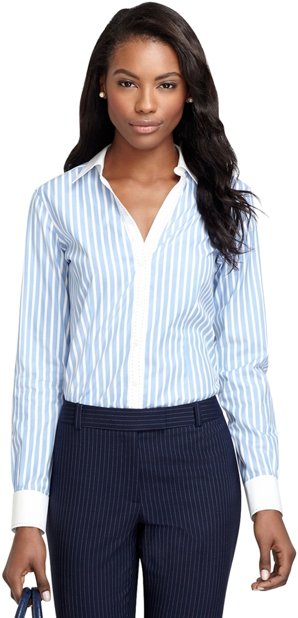 Brooks brothers petite fitted non iron wide stripe dress for Where to buy a dress shirt