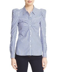 Veronica Beard Candice Pouf Sleeve Cotton Shirt