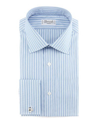 Charvet striped french cuff dress shirt bluewhite medium 143526