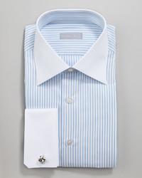 Stefano Ricci Contrast Collar Striped Button Down Shirt Bluewhite