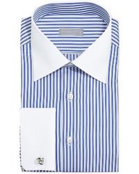 Stefano Ricci Contrast Stripe French Cuff Dress Shirt Bluewhite