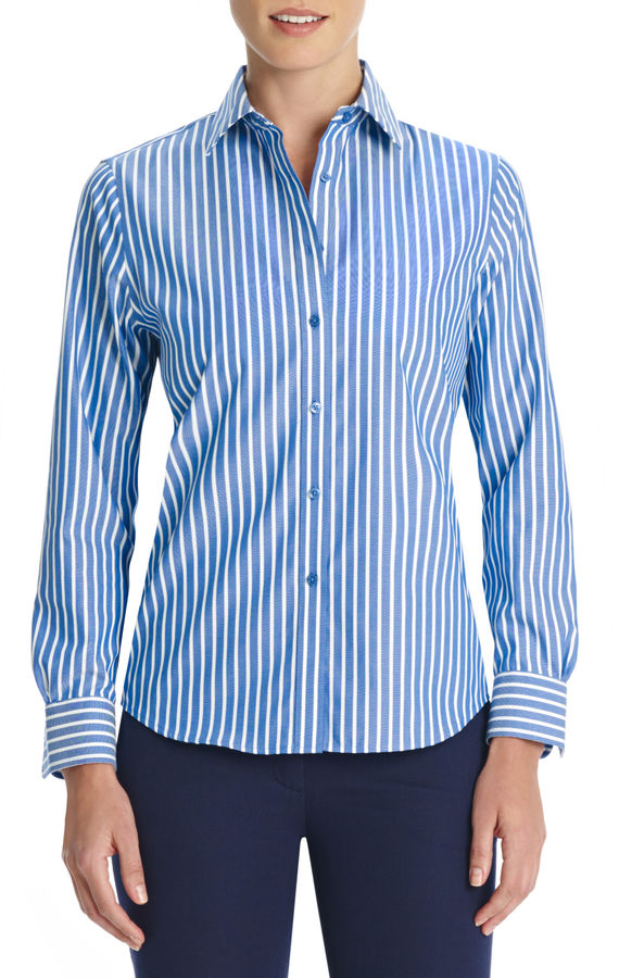 Jones new york no iron easy care relaxed fit striped shirt for No iron white shirt womens