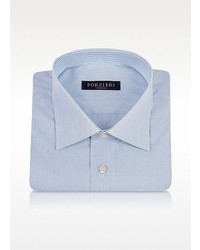 Forzieri Light Blue And White Fine Lines Cotton Dress Shirt
