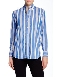10c978a39d34 Women's White and Blue Vertical Striped Dress Shirts by Equipment ...