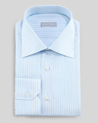 Stefano Ricci Micro Dash Striped Dress Shirt Bluewhite