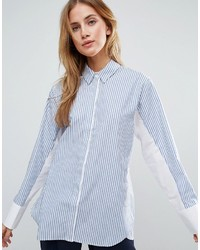 Asos Oversized Stripe Shirt With Contrast Batwing Sleeve