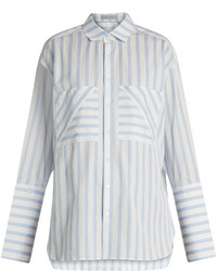 Palmer Harding Palmerharding Double Cuff Striped Cotton Blend Shirt