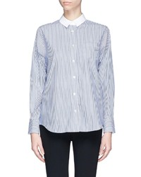 Nobrand Pleat Back Stripe Poplin Shirt