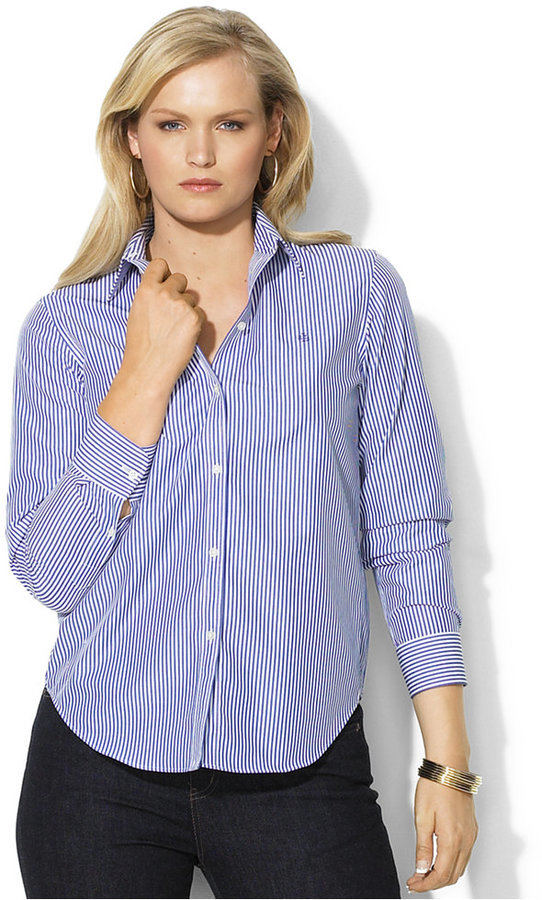 Lauren Ralph Lauren Plus Size Wrinkle Free Bengal Striped Dress ...