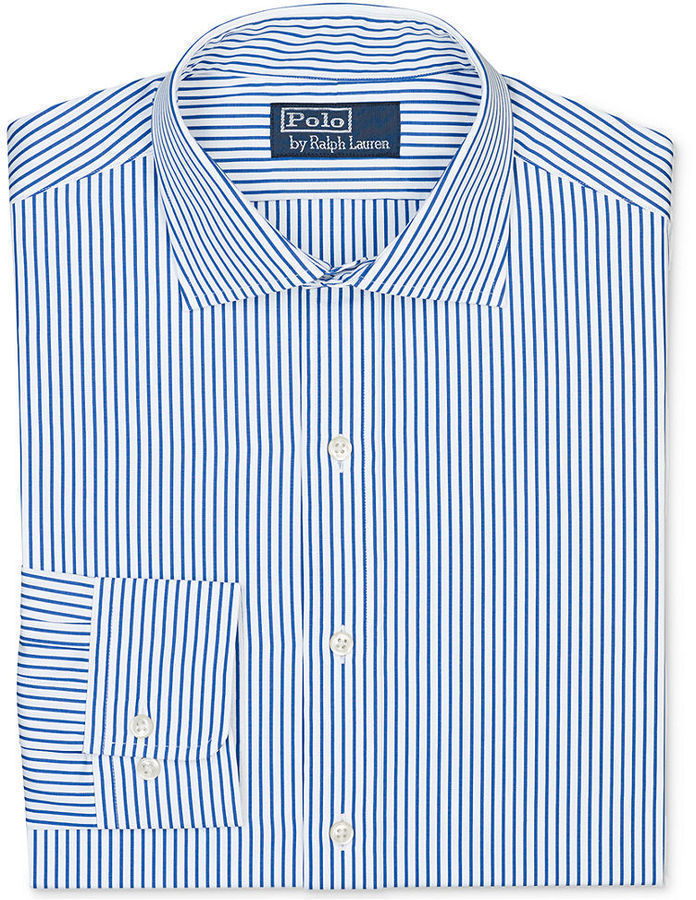 Polo Ralph Lauren Dress Shirt Blue And White Stripe Long Sleeved Shirt