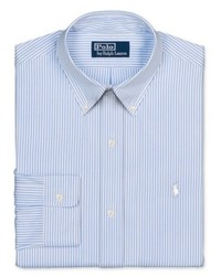 White and blue vertical striped dress shirt polo ralph for Big and tall custom polo shirts