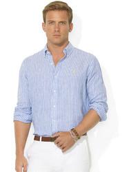 ed1bd52412f2 ... of stock · Polo Ralph Lauren Shirt Custom Fit Long Sleeve Striped Linen  Sport Shirt