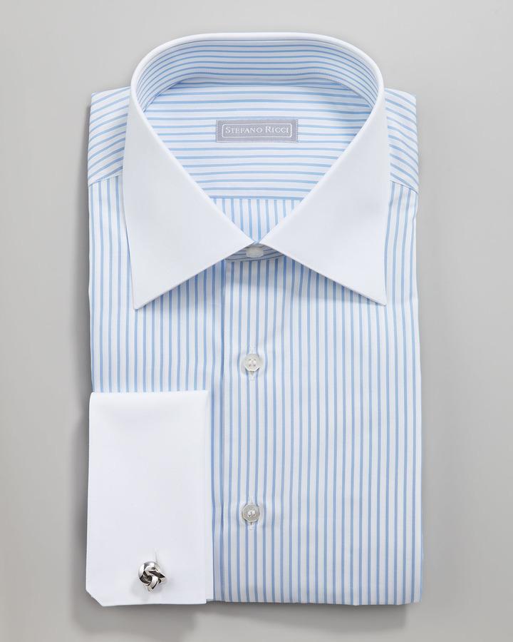 White And Blue Vertical Striped Dress Shirt Stefano Ricci