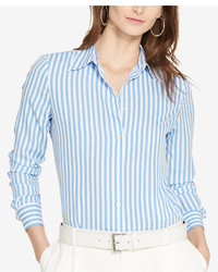 Lauren Ralph Lauren Striped Crepe Shirt