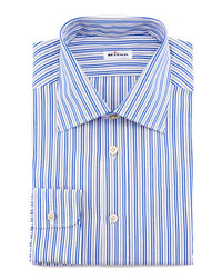 Kiton Striped Dress Shirt Bluegray