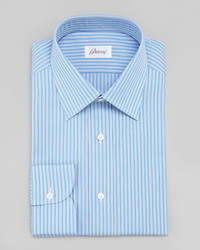 Brioni Striped Dress Shirt Bluewhite
