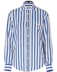 Ralph Lauren Black Label Striped Silk Shirt In Off Whitefrench Blue