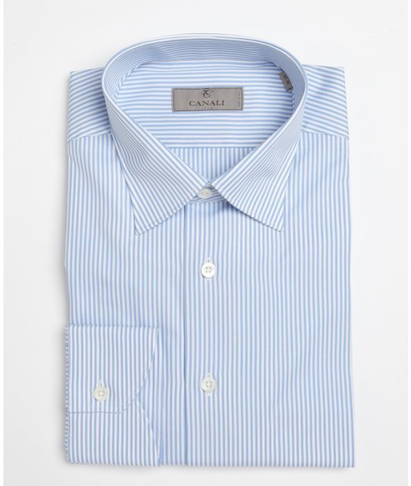 White and blue vertical striped dress shirt canali blue for Vertical striped dress shirt