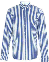 White and Blue Vertical Striped Long Sleeve Shirt | Men's Fashion