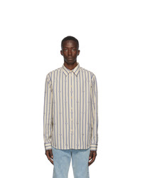 Gucci Blue And Off White Poplin Striped Shirt