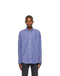 Balenciaga Blue And Red Stripe Large Fit Shirt