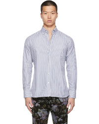 Tom Ford Blue Poplin Striped Shirt