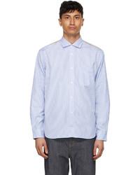Junya Watanabe Blue White Paneled Stripe Check Shirt