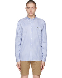 Lacoste Blue White Striped Regular Fit Shirt