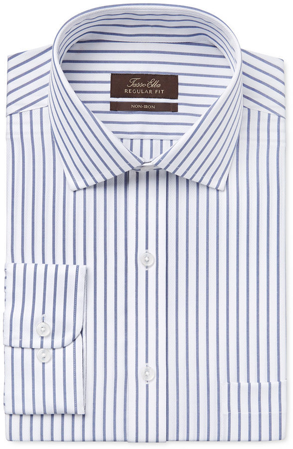 473e60884fba10 ... Tasso Elba Classic Fit Blue And White Striped Dress Shirt Only At Macys