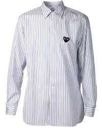 Comme des Garcons Comme Des Garons Play Embroidered Heart Striped Shirt