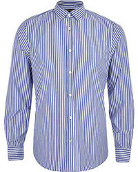 River Island Light Blue Stripe Long Sleeve Shirt