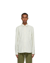 Gucci Off White And Blue Striped Gg Shirt