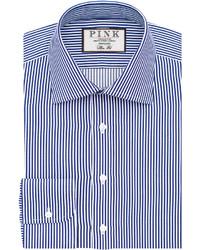 Thomas Pink Grant Stripe Slim Fit Button Cuff Shirt