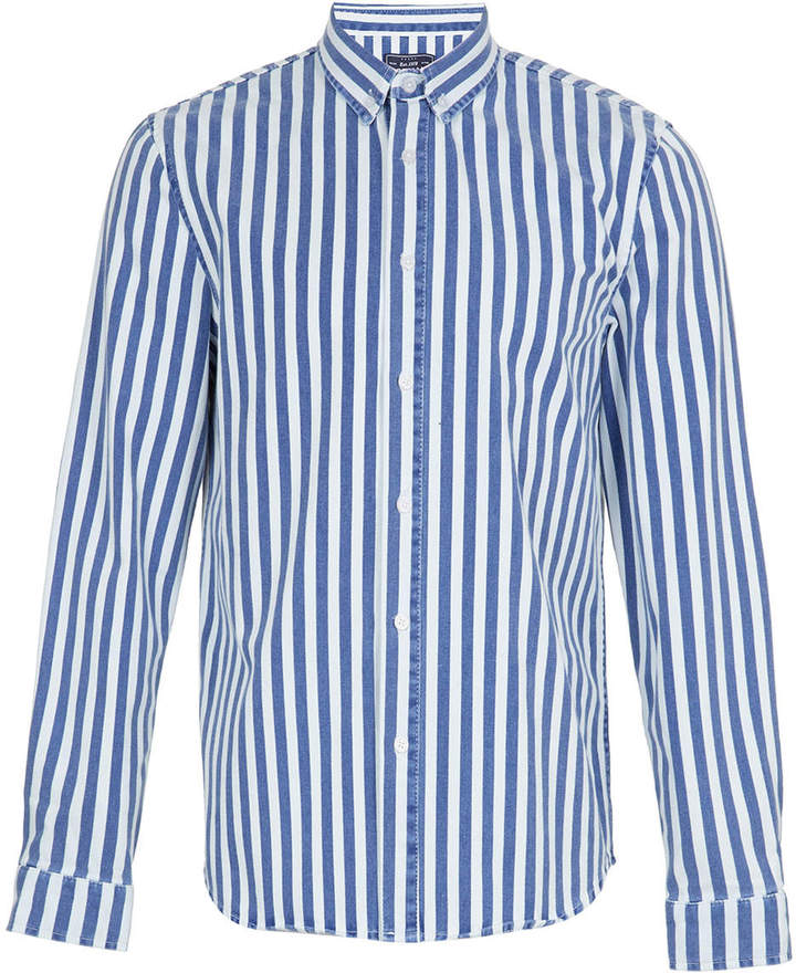 Topman Blue Stripe Denim Long Sleeve Shirt | Where to buy & how to ...