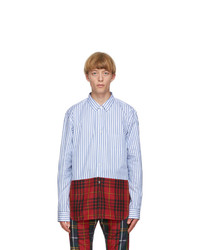 Comme Des Garcons Homme Plus White And Blue Cotton Broadcloth Shirt