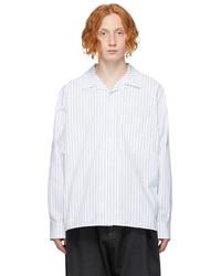 Loewe White Blue Jacquard Open Collar Shirt