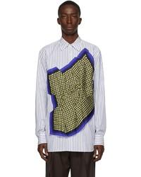 Dries Van Noten White Blue Poplin Striped Scarf Shirt