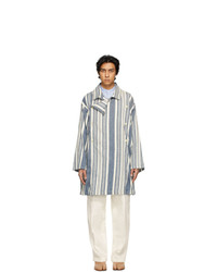 Maison Margiela Blue And White Linen Stripe Coat