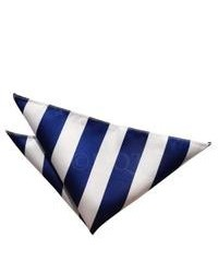 White and Blue Vertical Striped Pocket Square