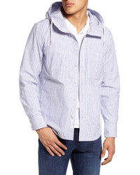White and Blue Vertical Striped Shirt Jacket