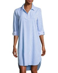 White and Blue Vertical Striped Shirtdress