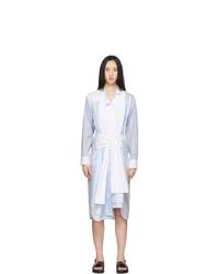 Loewe Blue And White Striped Shirt Dress