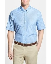 White and Blue Vertical Striped Short Sleeve Shirt