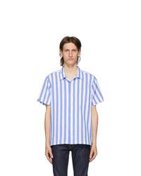 Polo Ralph Lauren Blue And White Striped Poplin Short Sleeve Shirt