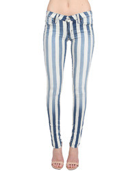 Frankie B. Stripe Jegging In Bluewhite